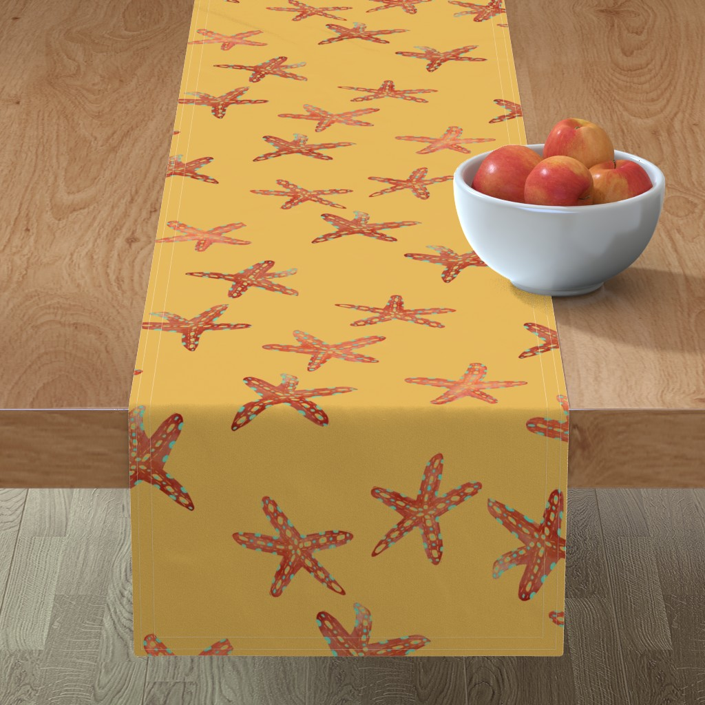 Minorca Table Runner featuring Aqua, Coral and Gold Starfish Hand-Painted Watercolor on Gold by paper_and_frill