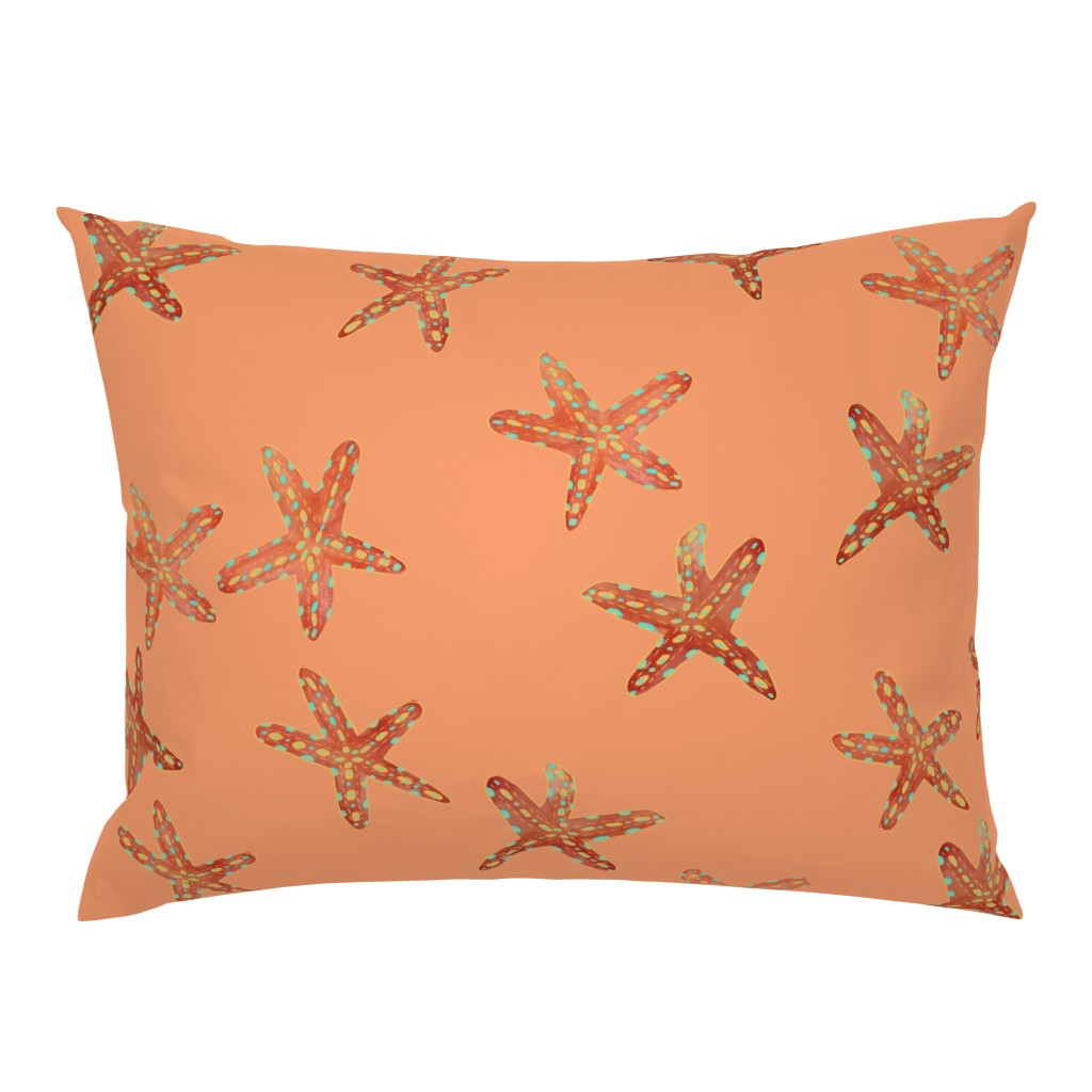 Campine Pillow Sham featuring Aqua, Coral and Gold Starfish Hand-Painted Watercolor on Coral by paper_and_frill