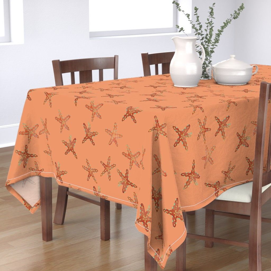 Bantam Rectangular Tablecloth featuring Aqua, Coral and Gold Starfish Hand-Painted Watercolor on Coral by paper_and_frill