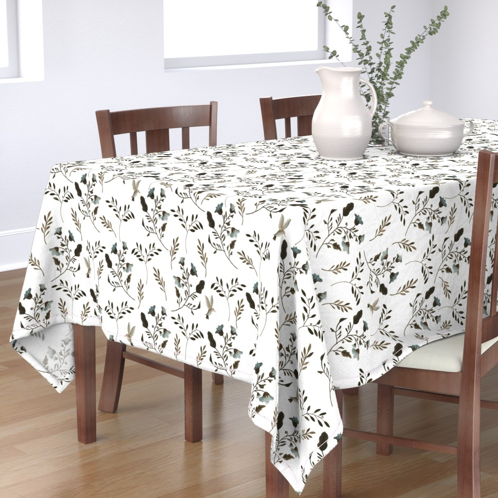 Bantam Rectangular Tablecloth featuring Bluebells and Bluebirds on Natural White by paper_and_frill