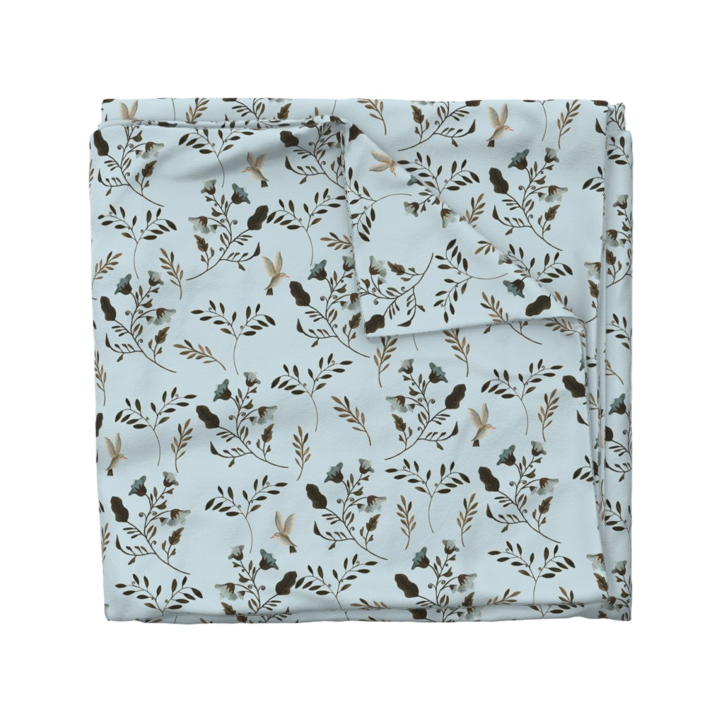 Wyandotte Duvet Cover featuring Bluebells and Bluebirds on Blue by paper_and_frill