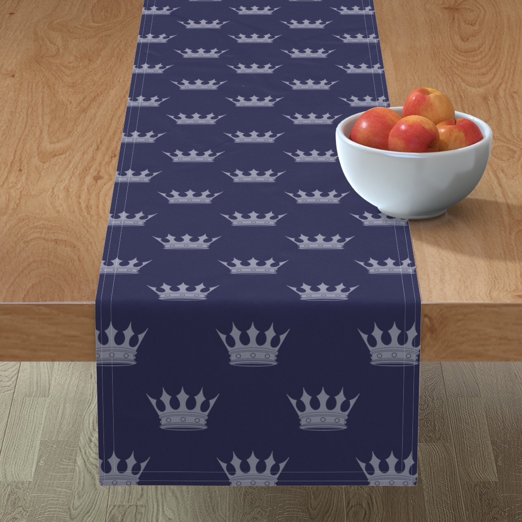 Minorca Table Runner featuring Royal Blue on Blue Crowns by paper_and_frill