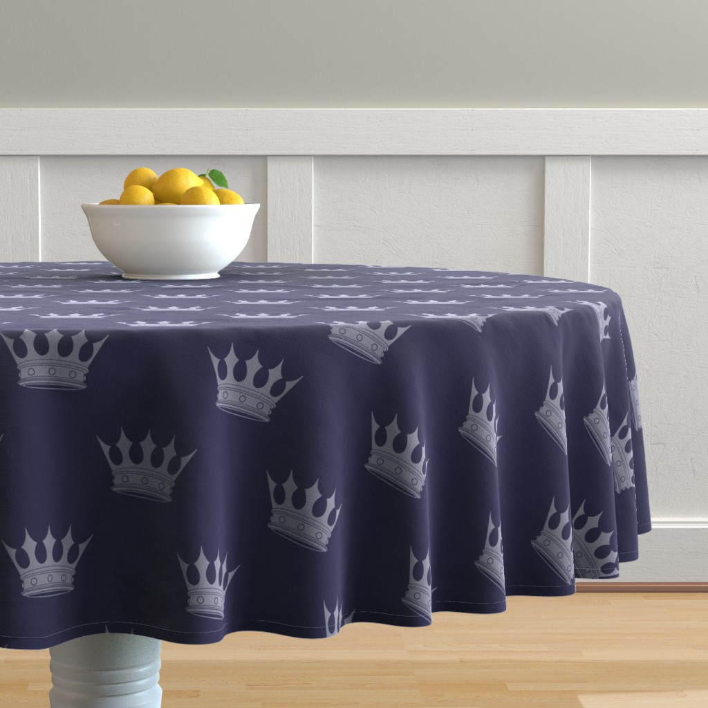 Malay Round Tablecloth featuring Royal Blue on Blue Crowns by paper_and_frill