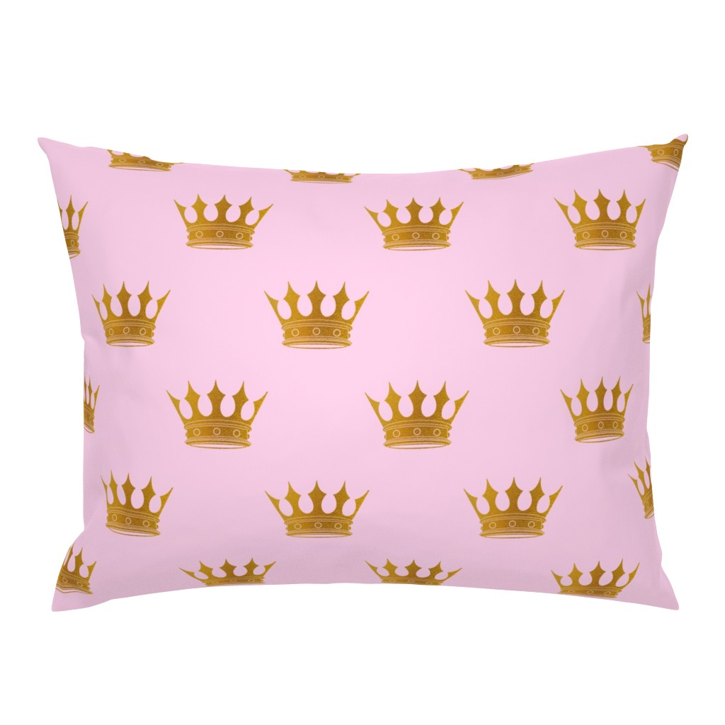 Campine Pillow Sham featuring Princess Charlotte Rose Pink with Gold Crowns by paper_and_frill