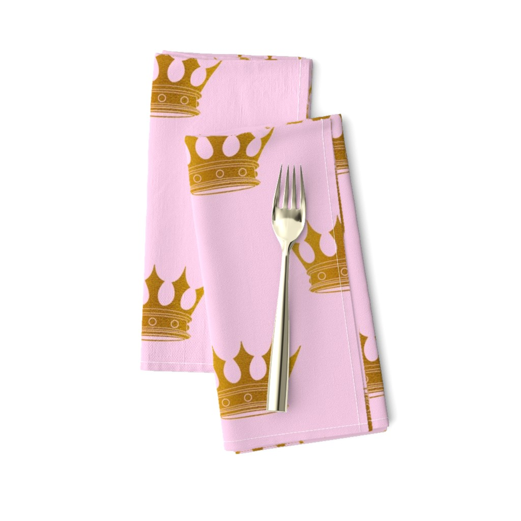 Amarela Dinner Napkins featuring Princess Charlotte Rose Pink with Gold Crowns by paper_and_frill