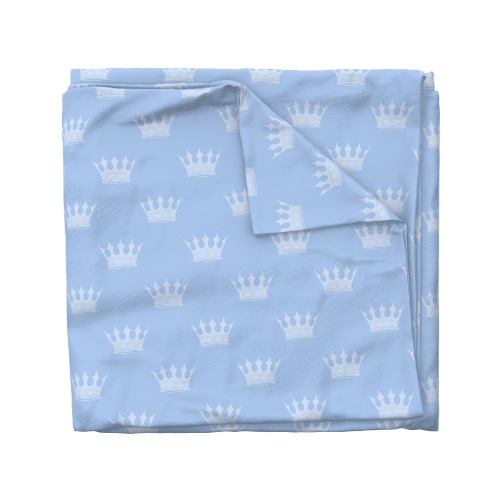 Wyandotte Duvet Cover featuring Prince Louis Blue Crowns on Baby Blue by paper_and_frill