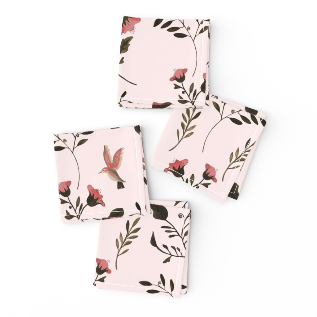 Frizzle Cocktail Napkins featuring Rose Blossoms and Hummingbirds on Pale Pink by paper_and_frill