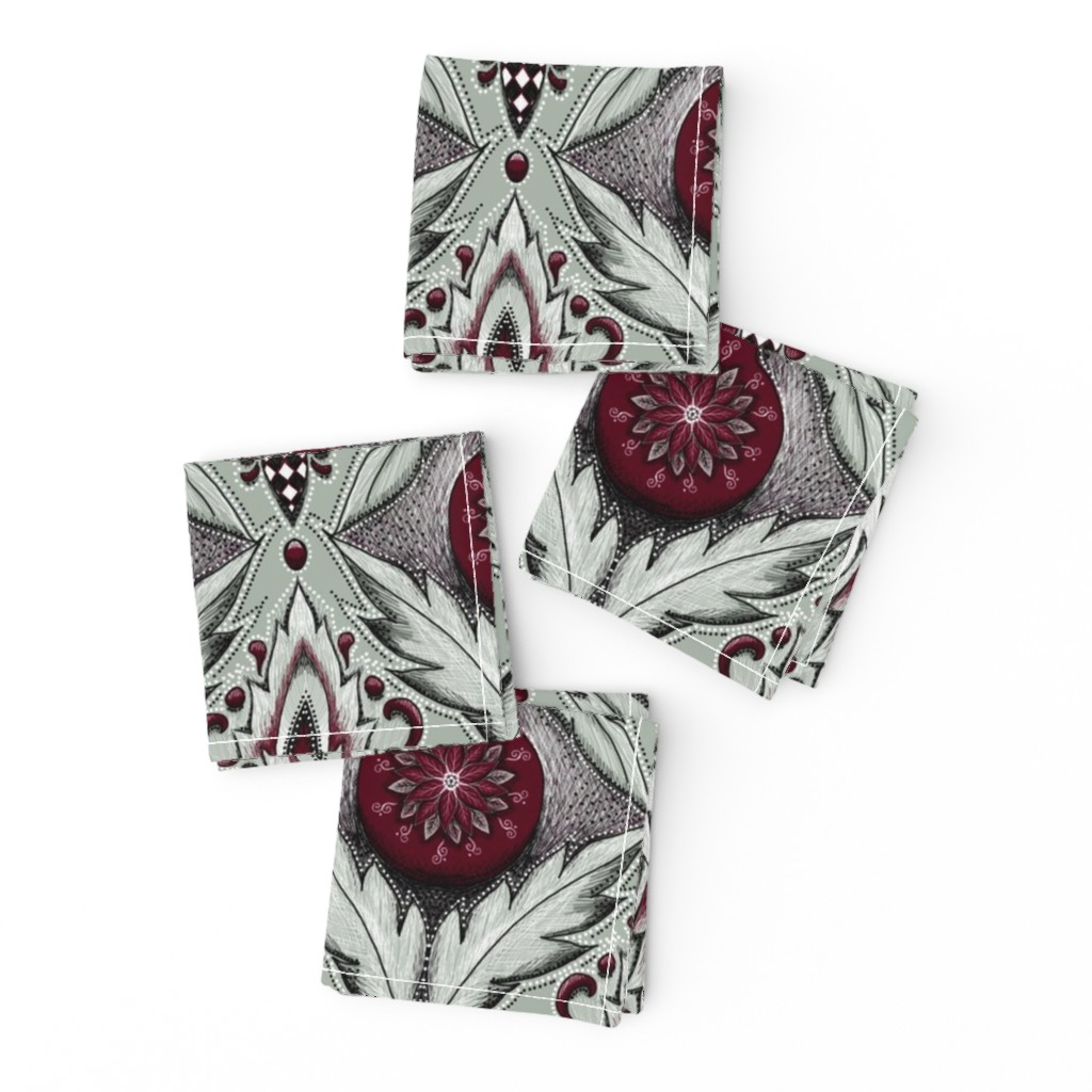 Frizzle Cocktail Napkins featuring elegant holiday damask by beesocks