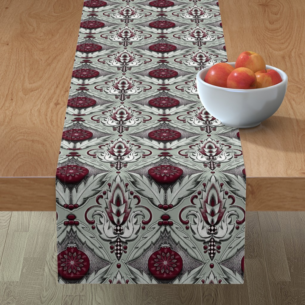 Minorca Table Runner featuring elegant holiday damask by beesocks