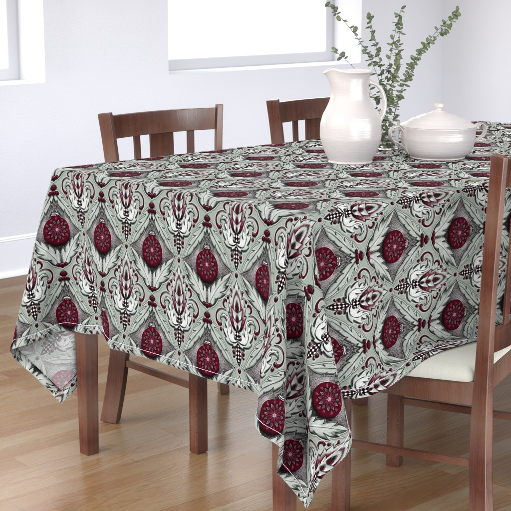 Bantam Rectangular Tablecloth featuring elegant holiday damask by beesocks