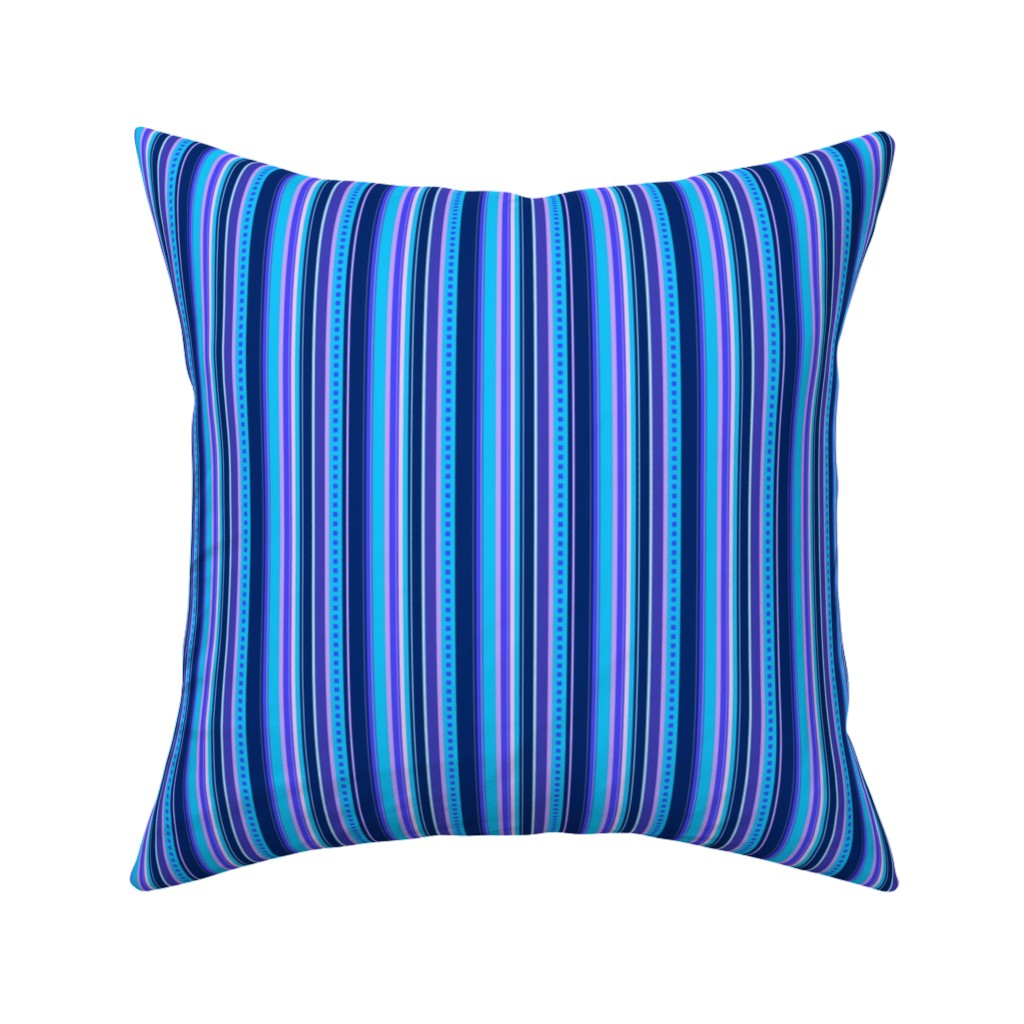 Catalan Throw Pillow featuring BN10 - Narrow Variegated Stripes in Blues - Pink - Lavender  by maryyx
