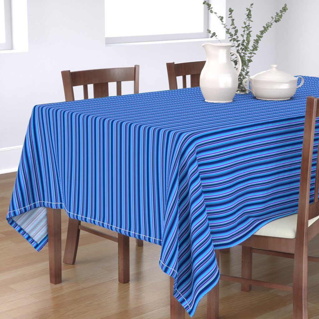 Bantam Rectangular Tablecloth featuring BN10 - Narrow Variegated Stripes in Blues - Pink - Lavender  by maryyx