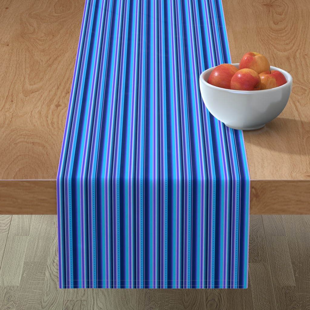 Minorca Table Runner featuring BN10 - Narrow Variegated Stripes in Blues - Pink - Lavender  by maryyx