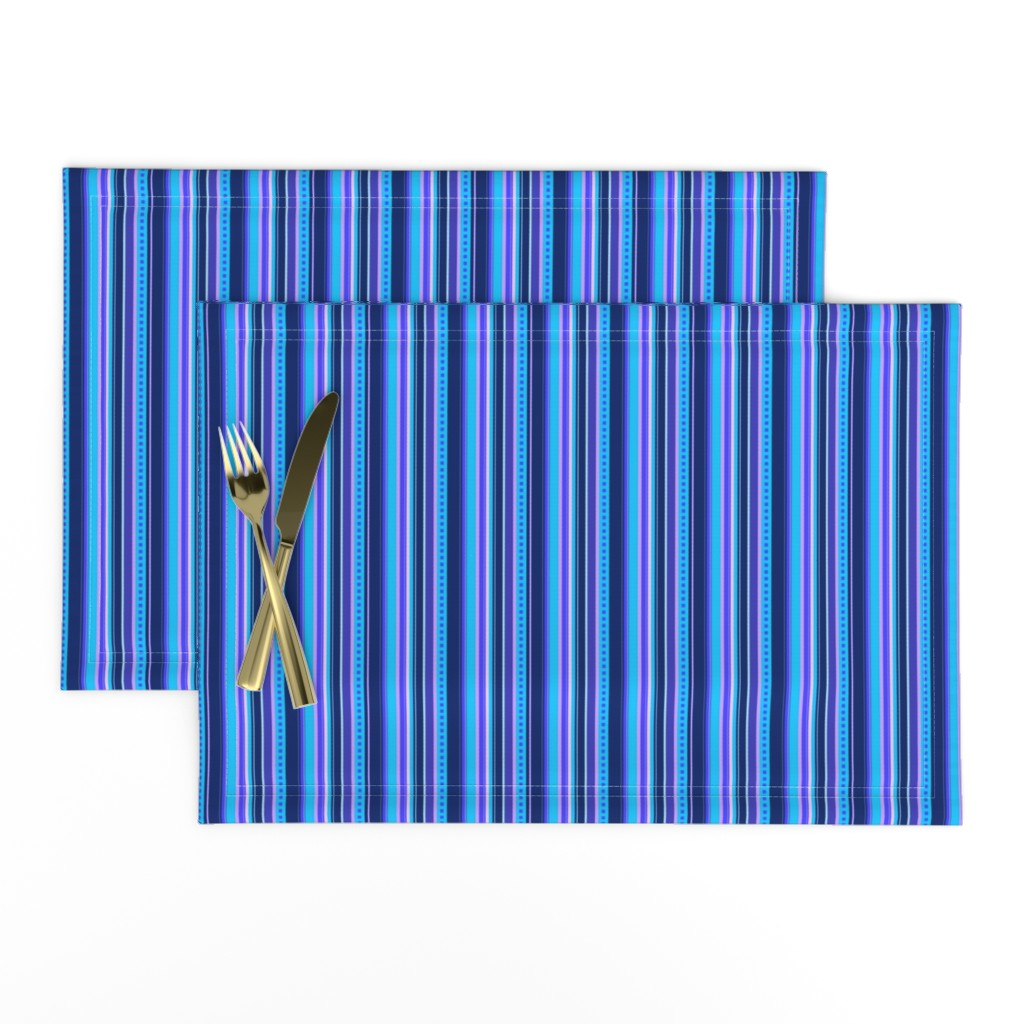 Lamona Cloth Placemats featuring BN10 - Narrow Variegated Stripes in Blues - Pink - Lavender  by maryyx