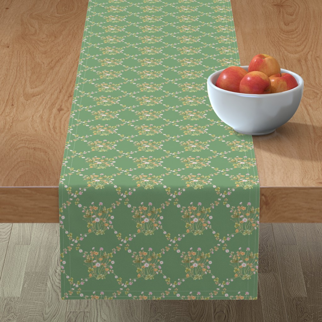 Minorca Table Runner featuring Meadowsweet Diamond Pastels, Boho Green by thistleandfox