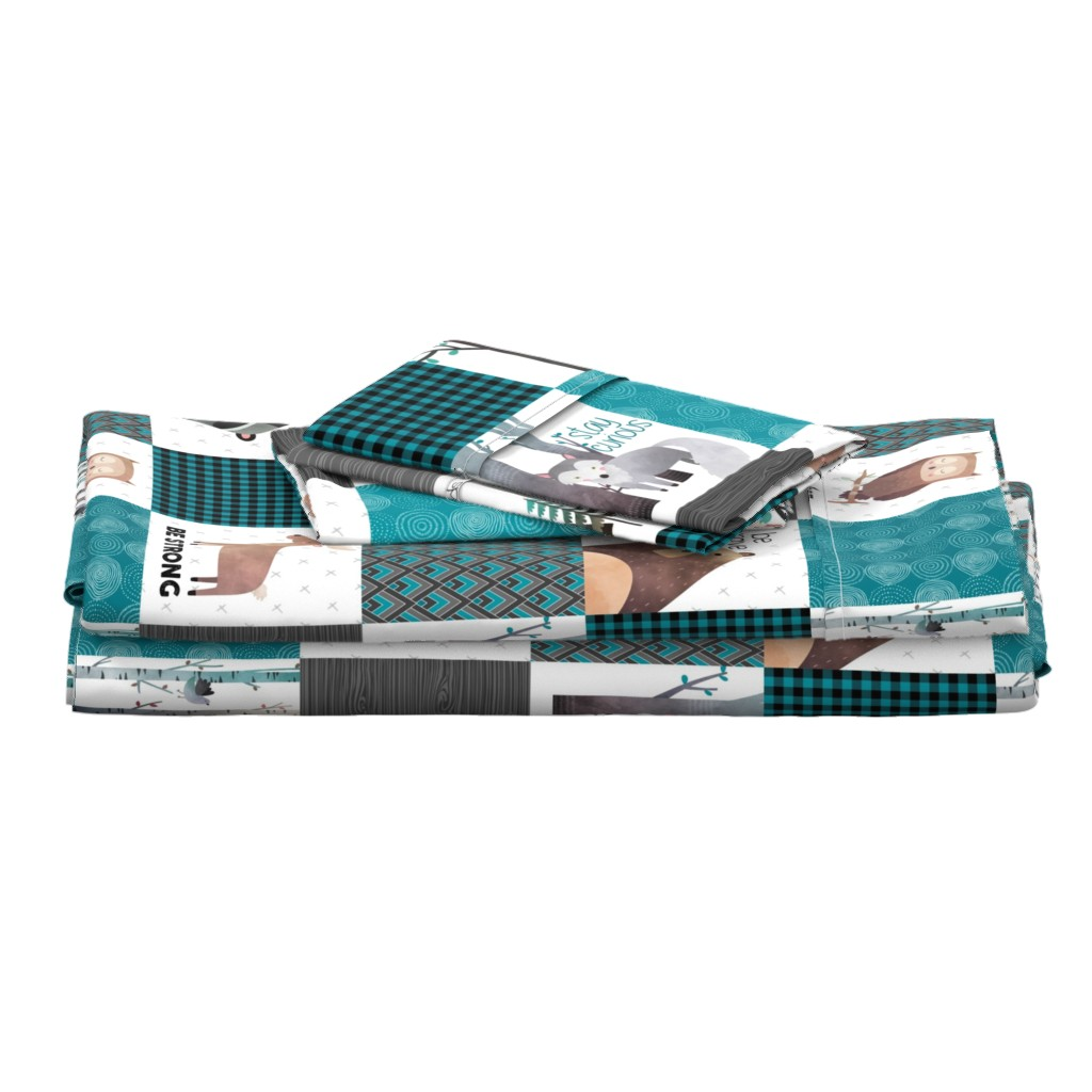 Langshan Full Bed Set featuring Woodland Critters Patchwork Quilt - Bear Moose Fox Raccoon Wolf, Teal, Black & Gray Design GingerLous by gingerlous
