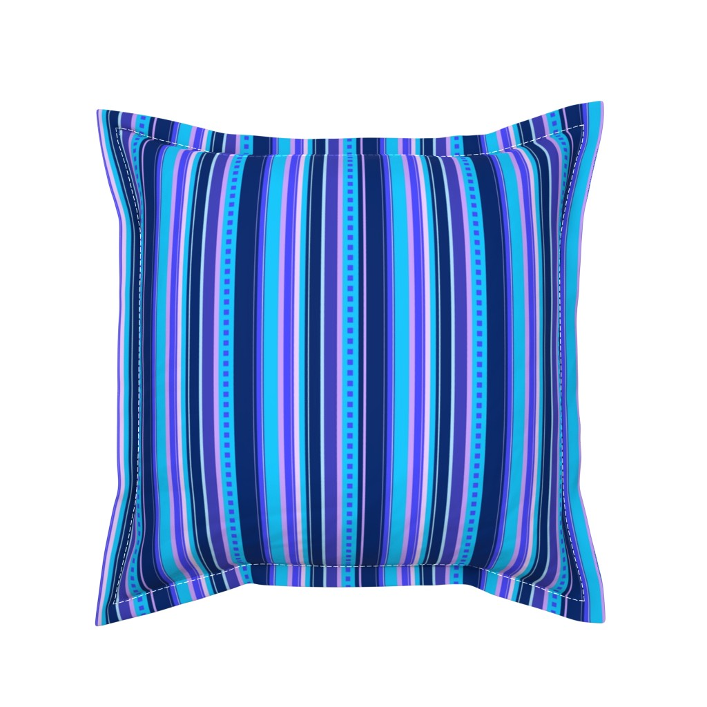 Serama Throw Pillow featuring BN10 - Variegated Stripe in Blues - Pink - Lavender - Lengthwise by maryyx