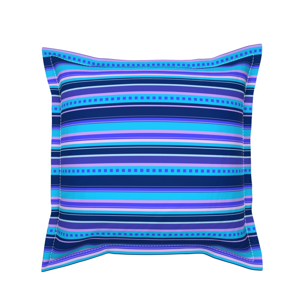 Serama Throw Pillow featuring BN10  - Variegated Stripes in Blues - Pink - Lavender - Crosswise by maryyx
