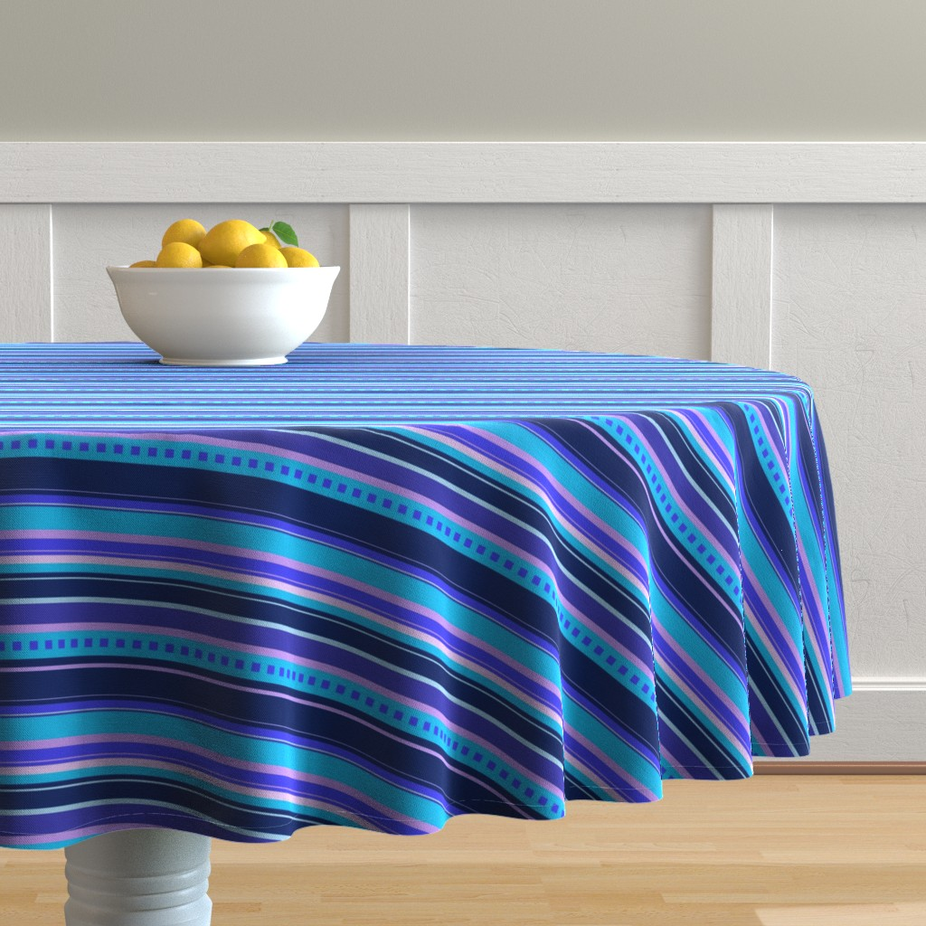 Malay Round Tablecloth featuring BN10  - Variegated Stripes in Blues - Pink - Lavender - Crosswise by maryyx