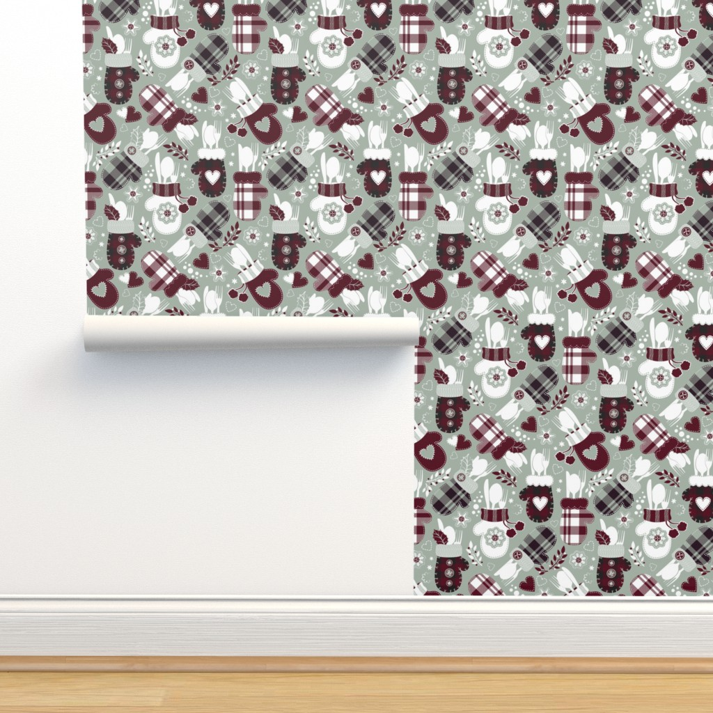 Isobar Durable Wallpaper featuring Christmas holiday dinner cozy gloves // limited palette by selmacardoso