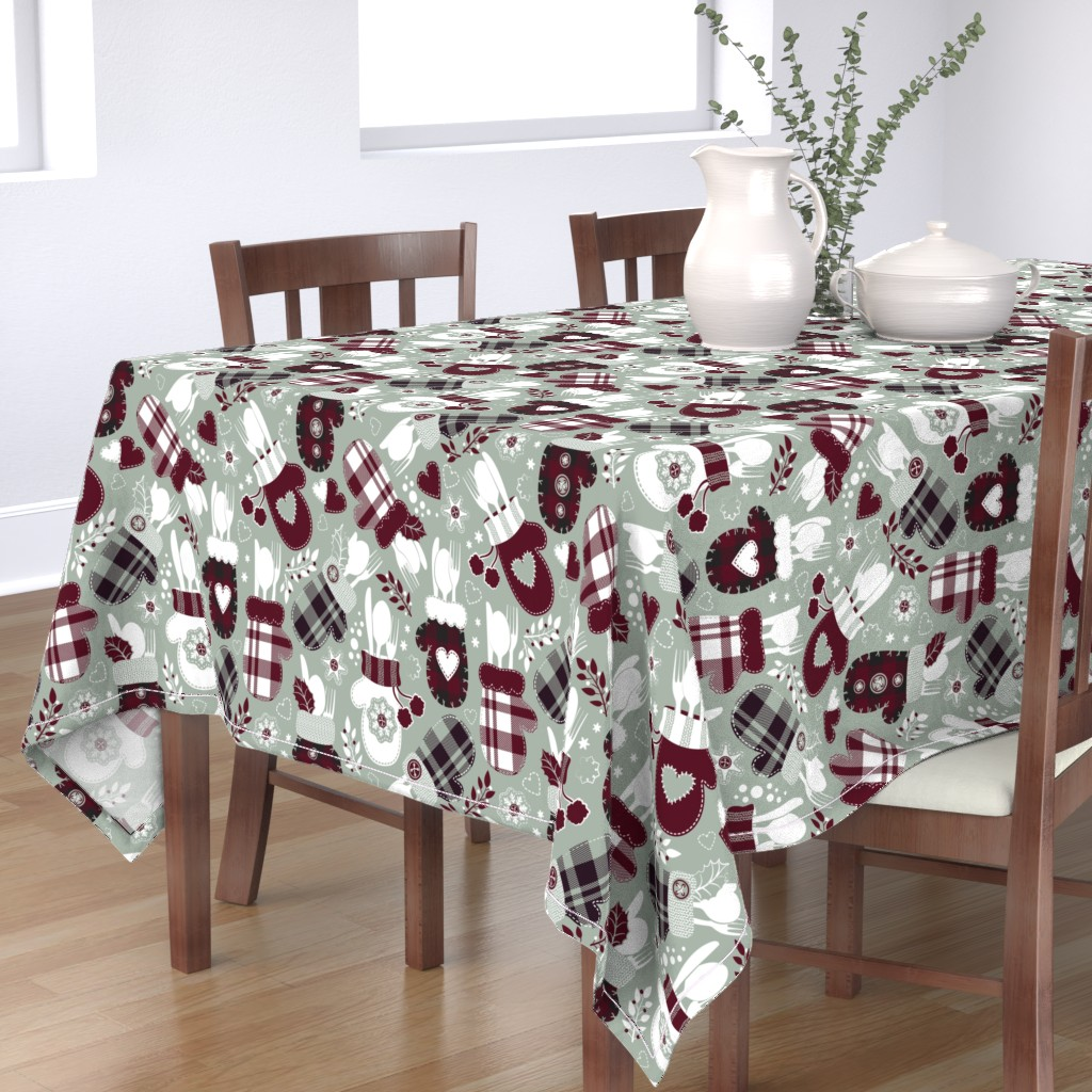 Bantam Rectangular Tablecloth featuring Christmas holiday dinner cozy gloves // limited palette by selmacardoso