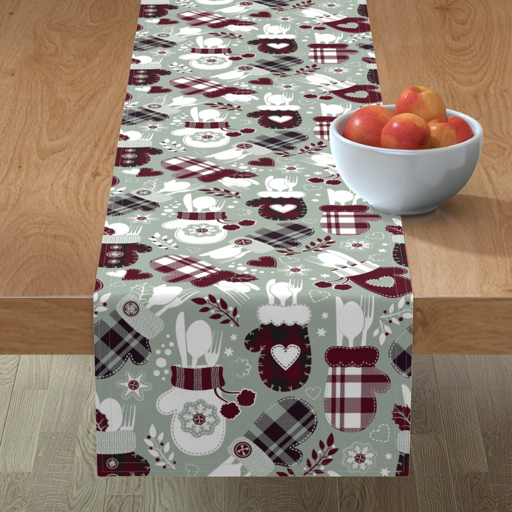 Minorca Table Runner featuring Christmas holiday dinner cozy gloves // limited palette by selmacardoso