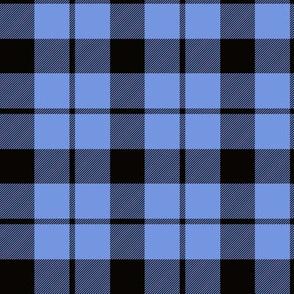 "Brown tartan, custom 3"" light blue"