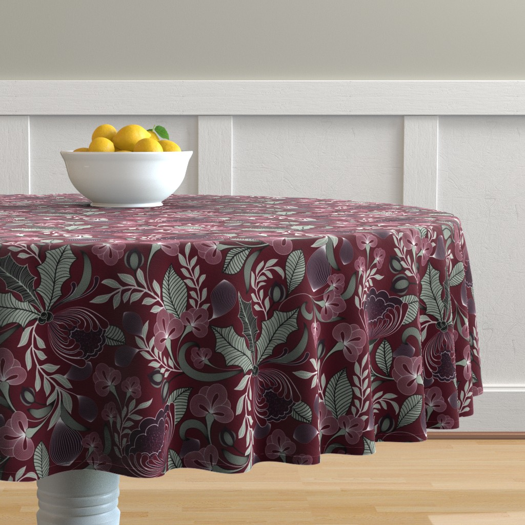 Malay Round Tablecloth featuring Holiday in Jewel Tones  by vo_aka_virginiao