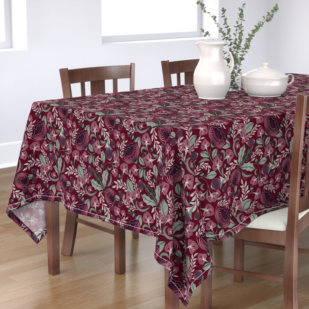 Bantam Rectangular Tablecloth featuring Holiday in Jewel Tones  by vo_aka_virginiao