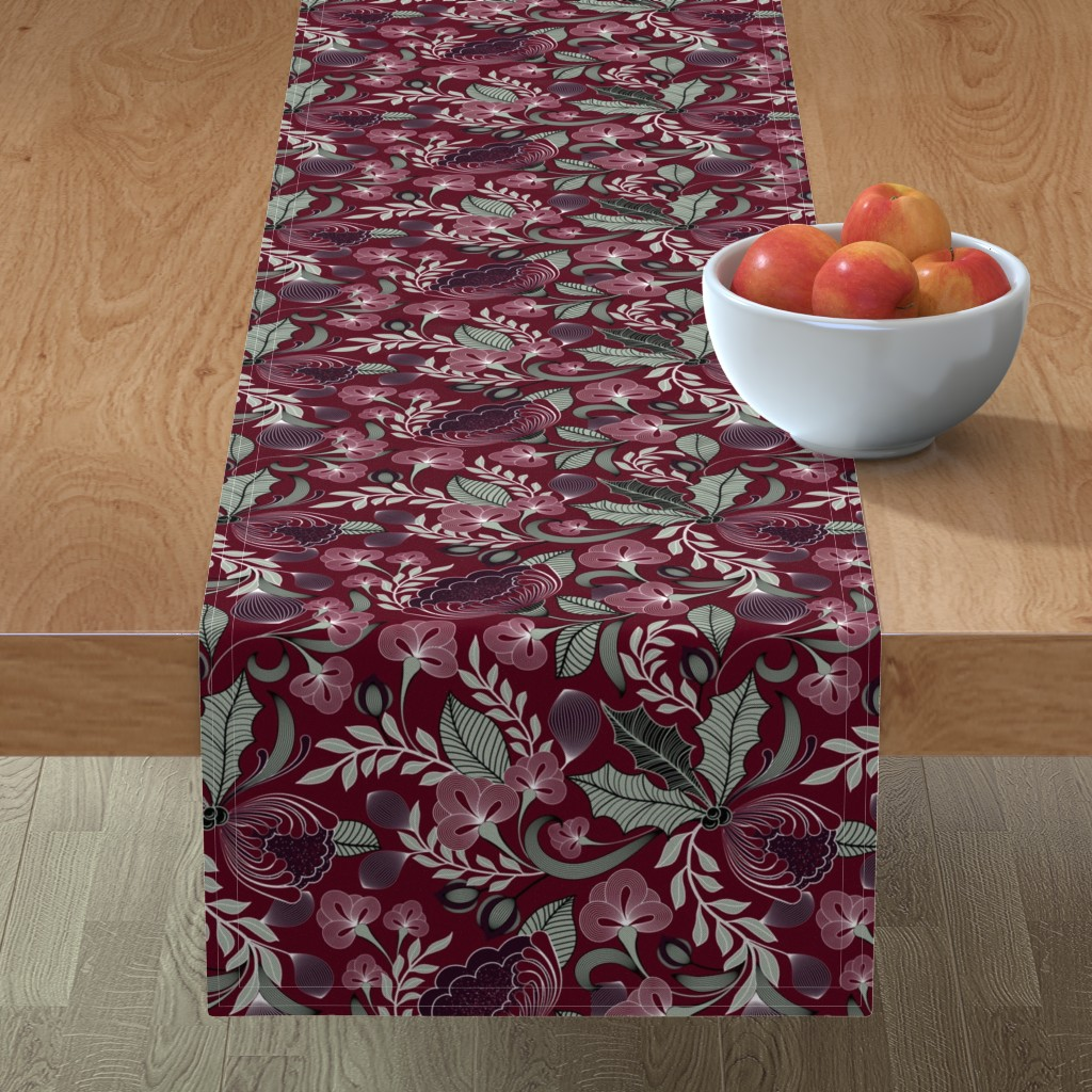 Minorca Table Runner featuring Holiday in Jewel Tones  by vo_aka_virginiao