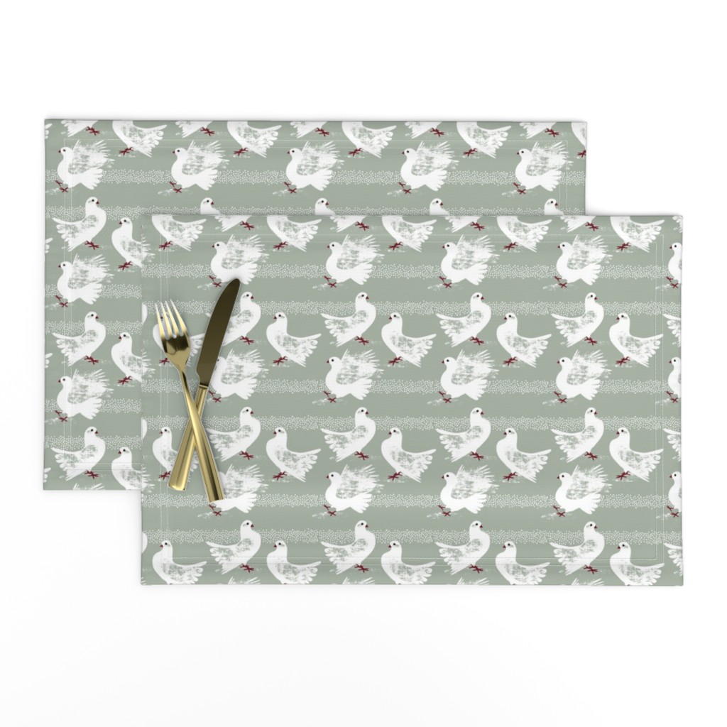 Lamona Cloth Placemats featuring Elegant Pigeons by Mount Vic and Me by mountvicandme