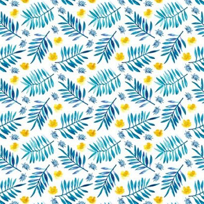 Watercolor palm leaf botanical tropical garden and blossom flowers gender neutral blue mustard XS