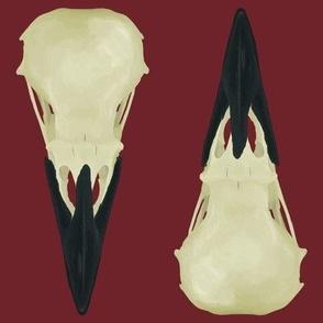 Large Raven Skulls on red background