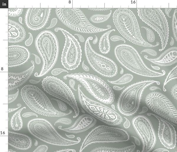 Fabric By The Yard Paisley Coordinate White On Grey Large Print