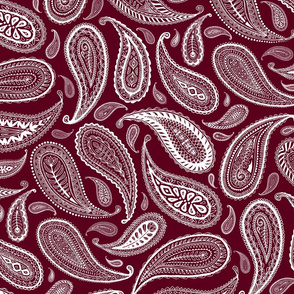 Paisley Coordinate - white on burgundy red - large print