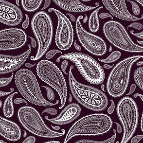 Paisley Coordinate - white on dark plum - large print