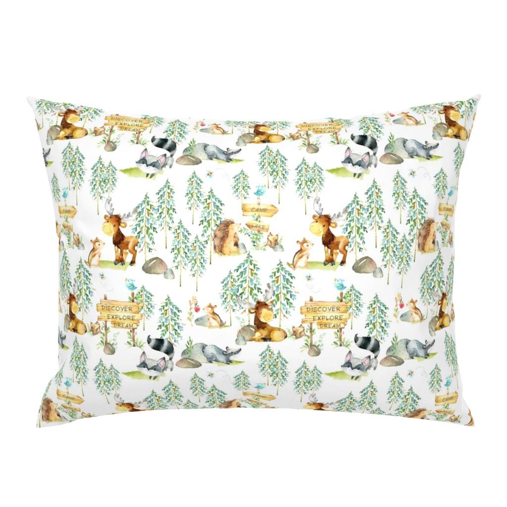 Campine Pillow Sham featuring Woodland Adventure - Moose Fox Deer Bear Hedgehog Squirrel Raccoon - LARGER SCALE by gingerlous