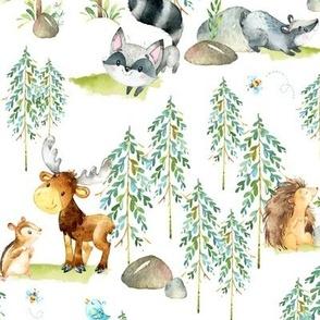 Woodland Adventure - Moose Fox Deer Bear Hedgehog Squirrel Raccoon - LARGER SCALE