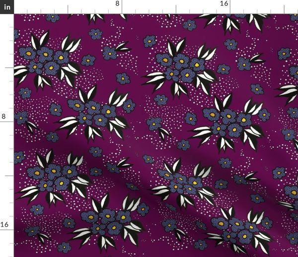 Stoff Meterware Blumen Lila Handgemalt Bluten Aubergine Blumenmuster Blumen