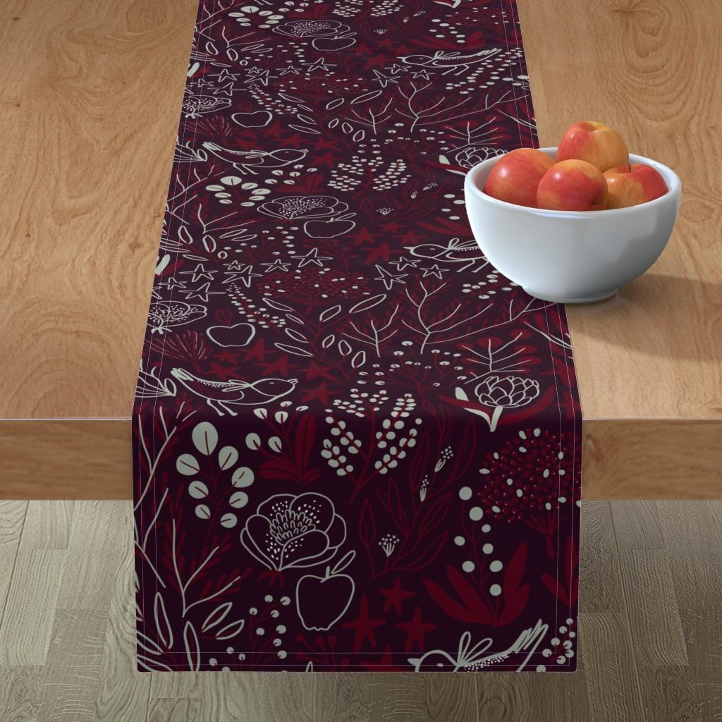 Minorca Table Runner featuring Burgundian motifs. Winter elegant flowers, berries & birds. Holiday mood. by kostolom3000