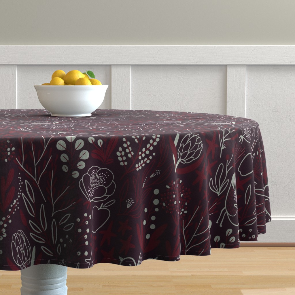 Malay Round Tablecloth featuring Burgundian motifs. Winter elegant flowers, berries & birds. Holiday mood. by kostolom3000