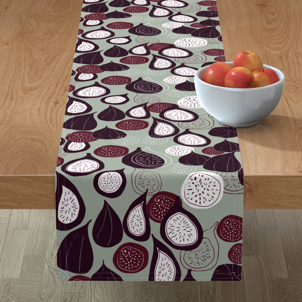 Minorca Table Runner featuring Abstract figs pomegranate and passion fruit // elegant winter holiday  by maredesigns