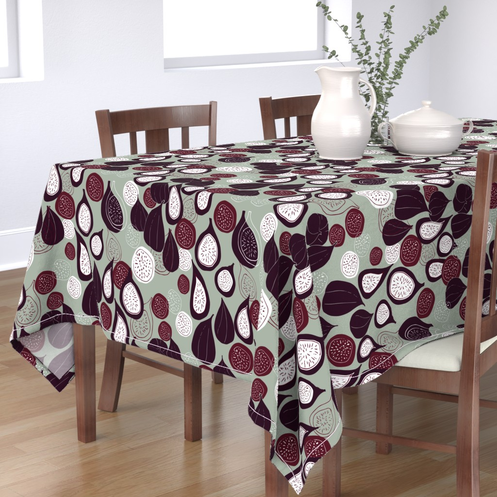 Bantam Rectangular Tablecloth featuring Abstract figs pomegranate and passion fruit // elegant winter holiday  by maredesigns
