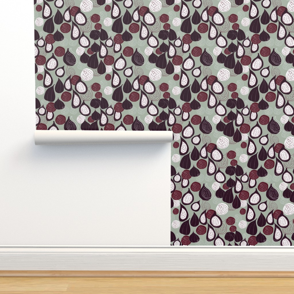 Isobar Durable Wallpaper featuring Abstract figs pomegranate and passion fruit // elegant winter holiday  by maredesigns
