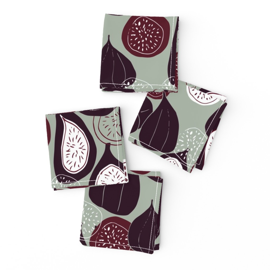 Frizzle Cocktail Napkins featuring Abstract figs pomegranate and passion fruit // elegant winter holiday  by maredesigns