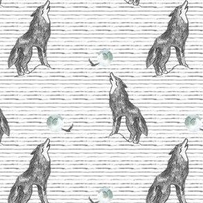 """4"""" Howl At The Moon Wolf with Stripes"""