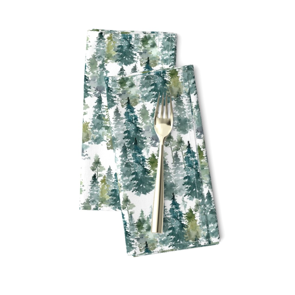 """Amarela Dinner Napkins featuring 8"""" Woodland Trees - White by shopcabin"""