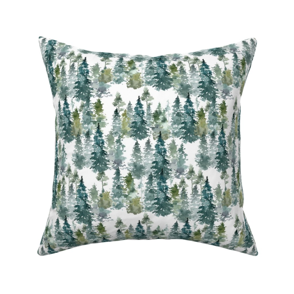 "Catalan Throw Pillow featuring 8"" Woodland Trees - White by shopcabin"