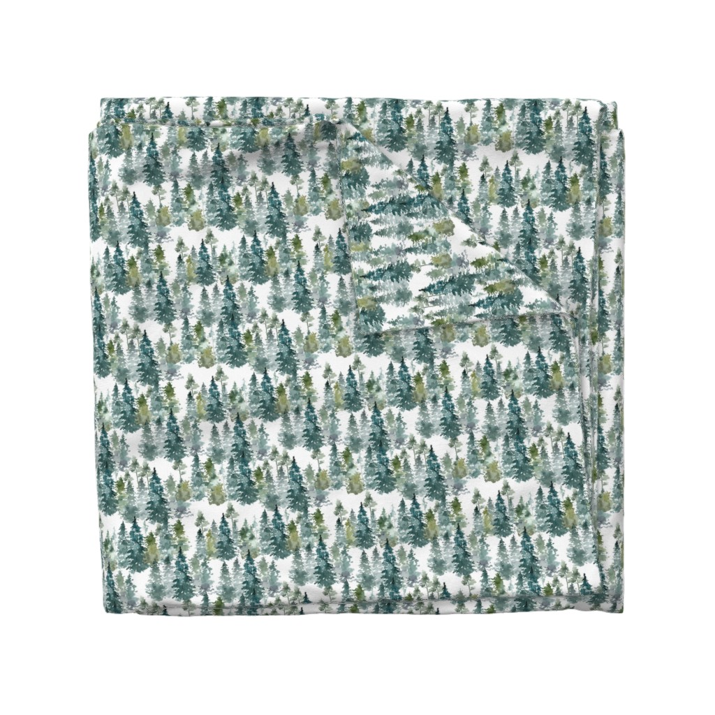 """Wyandotte Duvet Cover featuring 8"""" Woodland Trees - White by shopcabin"""