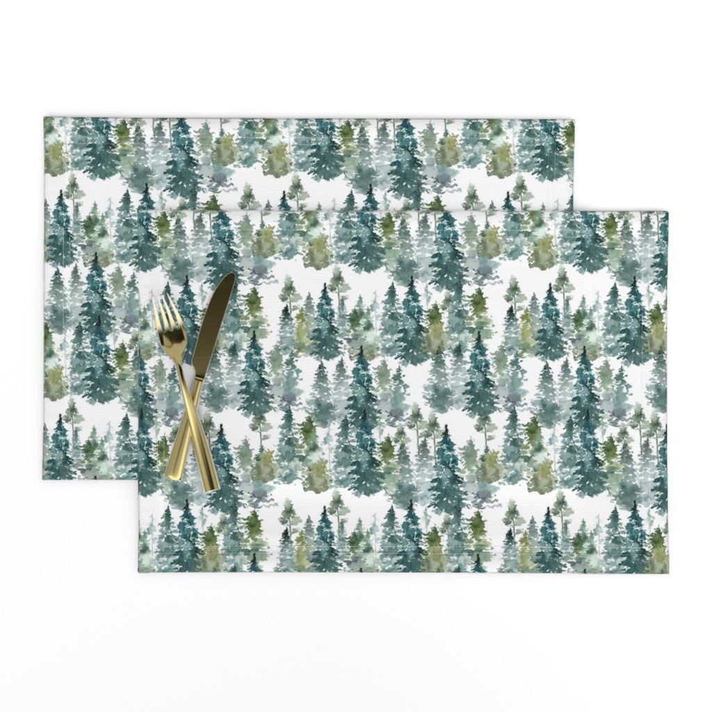 "Lamona Cloth Placemats featuring 8"" Woodland Trees - White by shopcabin"